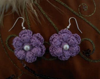 Flower Earrings violete purple cotton crochet with beads.