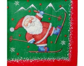 Set of 3 napkins NOE028 Santa on skis