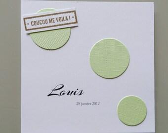 Invitation baby boy - congratulations - themed green bubbles - baptism invitation card - birthday child
