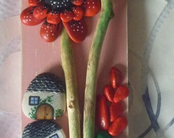 Hand painted wooden plaque giant Poppies Welcome
