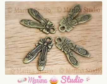 10 very detailed quality bronze ballerina charms