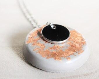 Necklace - black concrete - copper leaf - charm pendant