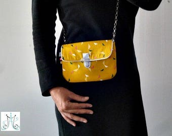 Mustard yellow removable strap, fastener satchel bag