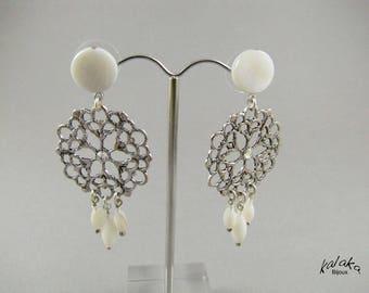 Earrings studs, Pearl, Crystal, silver metal