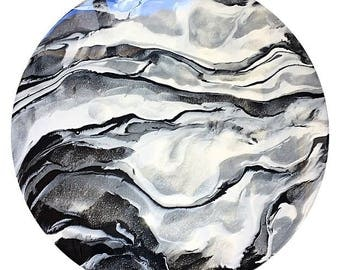 Round Grey White and Black Resin Painting, 38cm Abstract Painting, Round wall art
