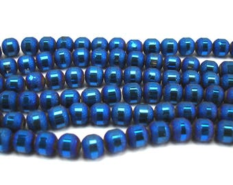 30 6 mm metallic and frosted blue glass beads