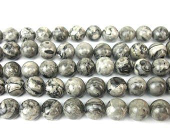 20 4MM gray Jasper beads