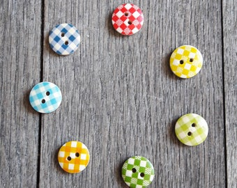 Set of 5 wooden buttons checkered 15 mm, yellow, blue, green, orange, red / / ID N71