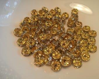 14k Gold Plated Clear Crystal Swarovski Rondelle Embedded Spacer 8mm