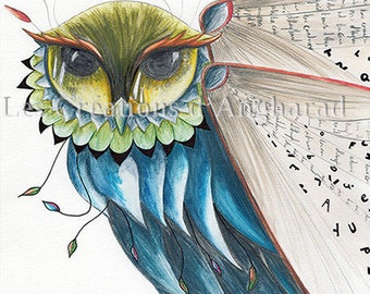 Original watercolor on paper pattern - the key of knowledge