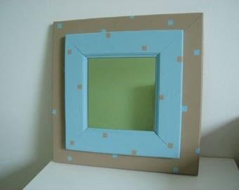square mirror bicolor Brown and blue