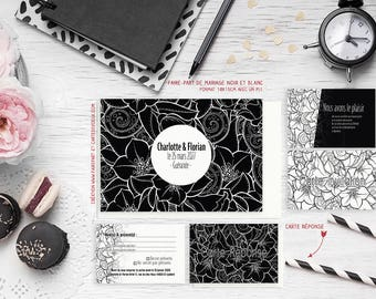 Wedding invitation - Fleur black and white - customize