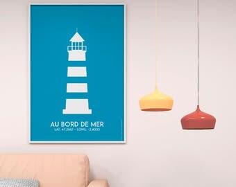 Blue Lighthouse Poster Print