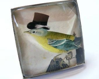 Large bird with Hat silver 25mm square ring has