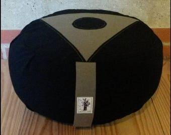 "Zafu - ""Black/khaki"" organic Meditation cushion"