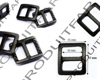 Set of 20 adjustment straps for bag handle 17 x 15 black plastic buckles