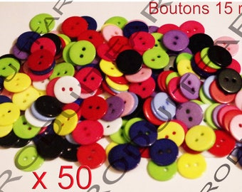 50 buttons 15 mm 2 hole resin blue pink white yellow red green colors.
