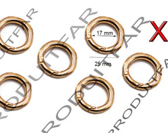 Set of 6 rings lobster clasps color 25 mm gold handle