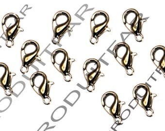 Set of 40 clips color 12 mm lobster clasps Platinum pendant necklace jewelry