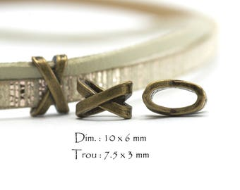 10 pearls loops Slides for drawstrings - Interleave shaped X - Sun. : 10 x 6 mm / hole: 7.5 x 3 mm - color Bronze