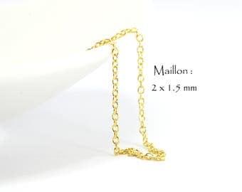 5 Mètres de Chaine en laiton maille Forçat - Maille très fine Ovale 2 x 1.5 mm - Couleur Or Doré