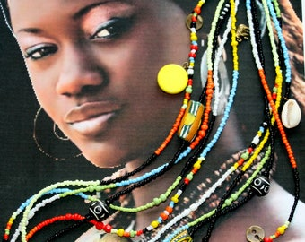 Long necklace colorful 5 rows beaded African style