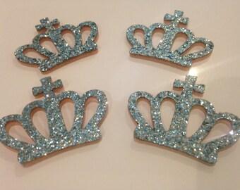 Set of 4 45mm sky blue Crown appliques