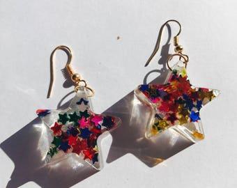 Star Glitter Resin Star Earrings