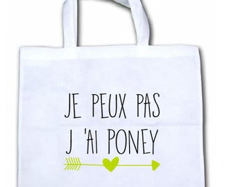 """INTISSEE CANVAS TOTE BAG """"I CAN'T I PONY"""""""