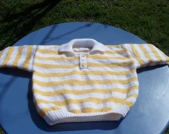 Knitted shirt for babies, striped yellow and white size 12 months
