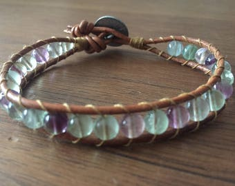 Wrap bracelet with leather and fluorite