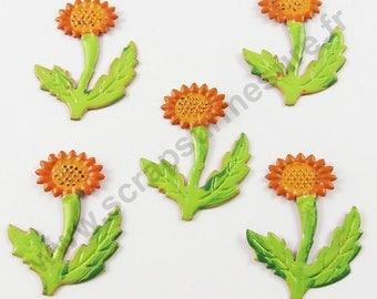 Metal - sunflower - x5pcs stickers