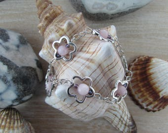 """Natural """"Spring"""" pink flowers and stone silver bracelet"""