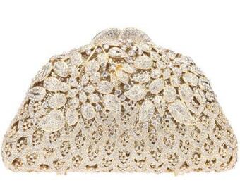 Gold Clutch, Crystal Clutch, Bridal Clutch, Wedding Clutch, Indian Clutch, Party Clutch, Evening Clutch Bag, Gift for Her, Bridal Bag