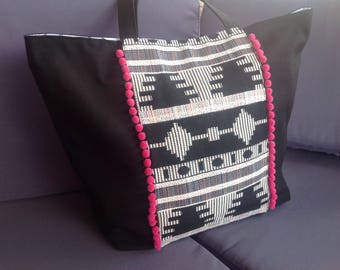 """tote bag """"Lise"""" fabric black and white tassel and ethnic pink"""