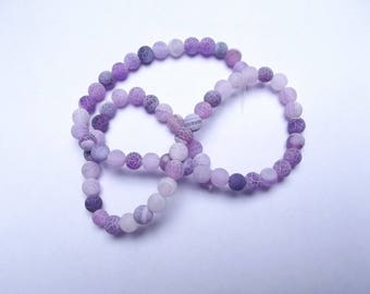 65 frosted agate round beads purple 6 mm lace-320