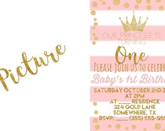 Baby Girl 1st Birthday Invitations