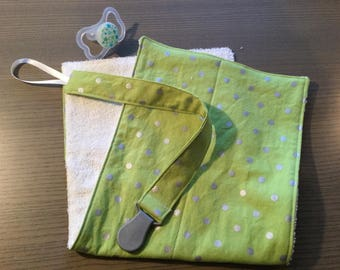 Burp Cloth + Pacifier Clip Set ~ Green and Silver Polka Dots ~ Gender Neutral