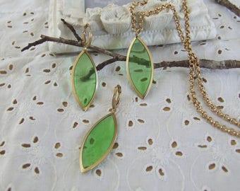 Green set * sheer * Golden brass - handmade