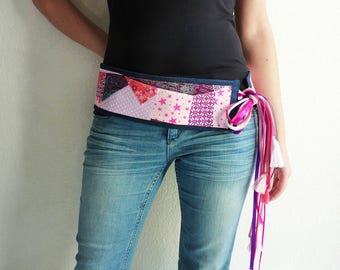 Shades of pink patchwork fabric belt