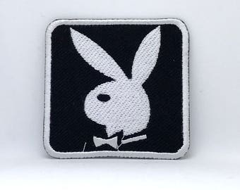 389# Playboy Bunny Black & White Iron/ Sew-on Embroidered Patch / Badge/ Logo