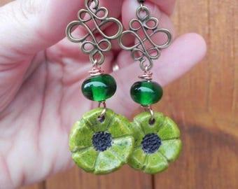 Earrings dangle small green flowers