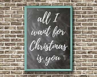 Couples Christmas Decoration | Christmas Printable Wall Art | All I Want For Christmas Is You | Christmas printable decor | Wall Art | Print