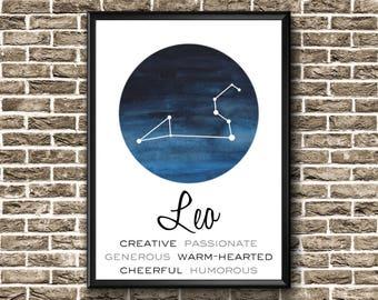 Leo Print   Leo Gift   Leo Constellation   Leo Poster   Leo Wall Art   Leo Printable   Leo Home Decor   Leo Art   Leo Decor   Leo Zodiac