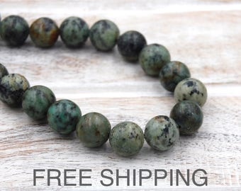 African Turquoise, 12mm Beads FREE SHIPPING -15 inch strand