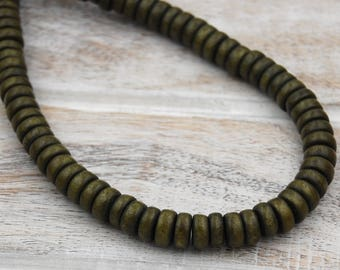 FREE SHIPPING, Pine Green Wood Rondelle 8x5mm Beads