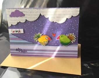 """card """"love birds"""" unique."""