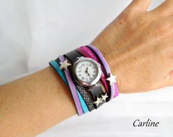 Leather cuff watch multicolor magnetic clasp