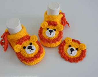Baby booties , Baby boy, Baby girl, Knitted baby booties, baby booties lion
