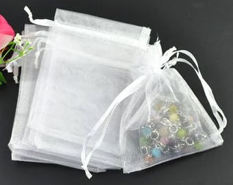 5 white 9x7cm organza jewelry gift pouch packing bags